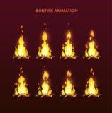 Bonfire animation sprites. Vector flame video frames for game design. Fire storyboard Stock Photos