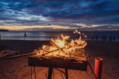 Bonfire on the background of the sea and sunset stock images