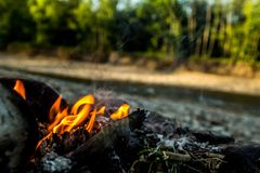 Bonfire on the Bank of the mountain river. In forest Stock Images