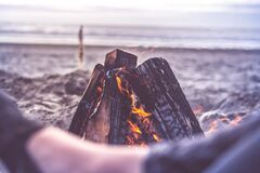 Bonfire on beach Royalty Free Stock Photography