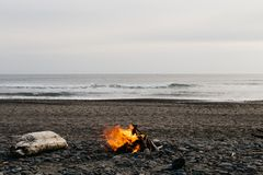 A bonfire at the beach royalty free stock photos