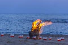 Bonfire on the beach mediterranean sea Royalty Free Stock Photos