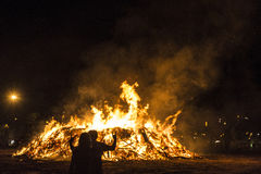 Bonfire on a beach at night, Costa Brava, Spain Stock Images