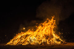 Bonfire on a beach at night, Costa Brava, Spain Royalty Free Stock Photo