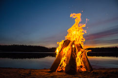 Bonfire on the beach sand Royalty Free Stock Photography