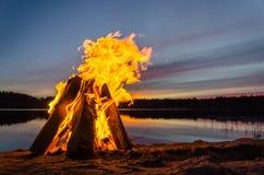 Bonfire on the beach sand Stock Photography