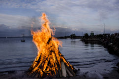 Bonfire at the beach Royalty Free Stock Photography