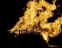 Bonfire. Blazing bonfire on Guy Fawkes night November the 5th Stock Images