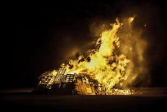Bonfire. Blazing bonfire on Guy Fawkes night November the 5th Stock Photos