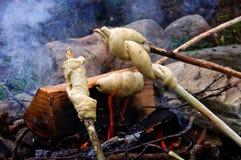 Bonfire bread Stock Images