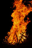 A bonfire, a bright night fire. Royalty Free Stock Image