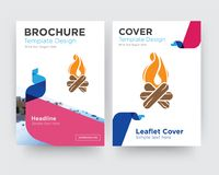 Bonfire brochure flyer design template. With abstract photo background, minimalist trend business corporate roll up or annual report Royalty Free Stock Photo