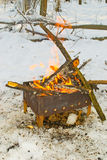 Bonfire burning in the forest. Bonfire burning in the winter forest stock images
