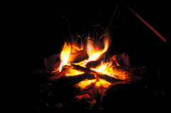 Bonfire is burning. Spurts of flame in the night Stock Images