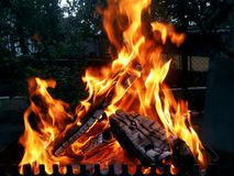Bonfire burning in the yard royalty free stock photography