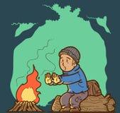 Bonfire on camp site Royalty Free Stock Photos