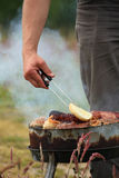 Bonfire campfire fire Flames grilling steak on the BBQ royalty free stock photo