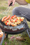 Bonfire campfire fire Flames grilling steak on the BBQ Royalty Free Stock Images