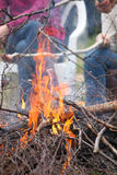 Bonfire campfire fire Flames grilling steak on the BBQ Stock Photography