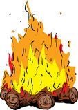 Bonfire or campfire with hot flames. Tall flames on bonfire or campfire over white background Royalty Free Stock Image