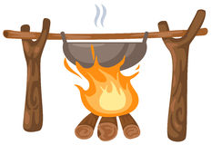 Bonfire with camping pot Stock Photos