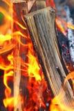 Bonfire close-up view Stock Photo
