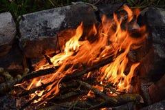 Bonfire. Closeup of campfire Stock Photo