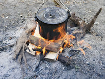 Bonfire cooking Stock Photography