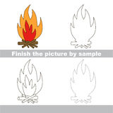 Bonfire. Drawing worksheet. Stock Image