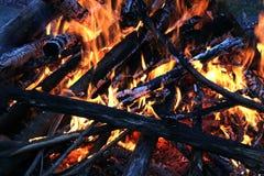 Bonfire at Dusk. Large bonfire at Dusk close up royalty free stock photo