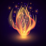 Bonfire. Fire flame on dark background. Colorful vector illustration. Fire flame on dark background. Bonfire in the night forest. Bright marching fire with Royalty Free Stock Photo