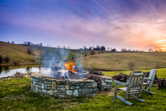 Bonfire. In a firepit at sunset in Central Ketucky countryside near Georgetown Royalty Free Stock Image