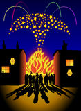 Bonfire and fireworks party. Domestic bonfire and fireworks party scene Royalty Free Stock Images