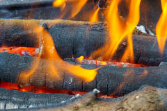 Bonfire with flame, smoke, wooden charcoals embers. Royalty Free Stock Photo