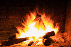 Bonfire and flames in a fireplace Stock Photo
