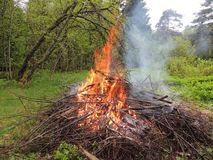 Bonfire on the forest  edge Stock Images