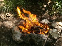 bonfire in the forest for kebabs stock photography
