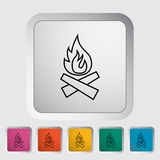 Bonfire icon. Bonfire outline icon on the button. Vector illustration Stock Images