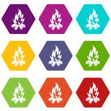 Bonfire icon set color hexahedron. Bonfire icon set many color hexahedron isolated on white vector illustration Royalty Free Stock Photos