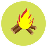 Bonfire icons in a flat style. Vector image on a round colored background. Element of design, interface.  Royalty Free Stock Image
