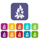 Bonfire icons set flat. Bonfire icons set vector illustration in flat style In colors red, blue, green and other Stock Image