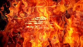Bonfire with intense fire flames