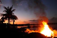 Bonfire at Lake Stock Image