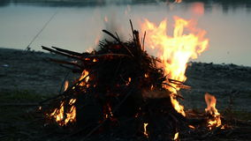 Bonfire on the lake stock video
