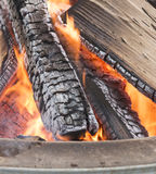 Bonfire Logs. Burring at the Rochester Winter Fest in Michigan. Warm, fire royalty free stock images