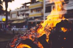 Bonfire in Malaga Stock Photography