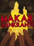 Bonfire Marking the Beginning of Makar Sankranti Festival, Vector Illustration. Traditional bonfire -for Bhogi and Lohri celebrations- ready to celebrate the stock illustration