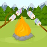Bonfire with marshmallow - camping, burning woodpile flame fire background vector illustration. Flame fire background. Fiery and wooden matches logs and bonfire Stock Photo