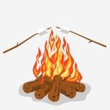 Bonfire with marshmallow Stock Photos
