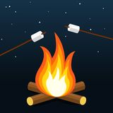 Bonfire with marshmallow. Camping grill marshmallow. Marshmallow outdoor campfire night. stock illustration